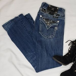 Miss Me | Bootcut Jeans with Black Lace Detail